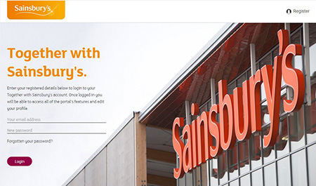 The Together with Sainsbury's website page
